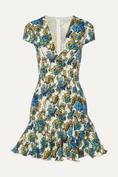 Stella McCartney - Ruffled Floral-print Neoprene Dress - Blue