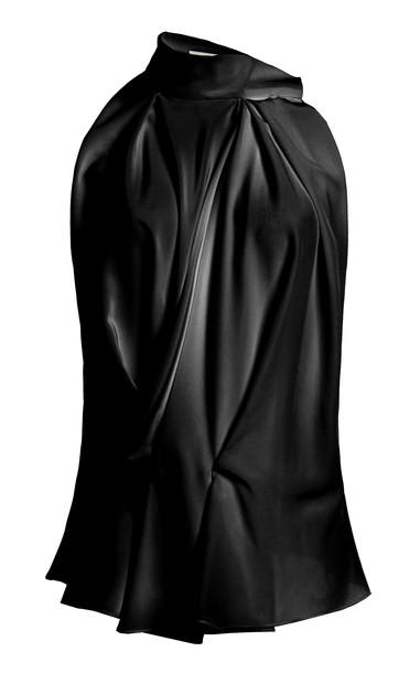 Alexandre Blanc Silk Scarf Top in black