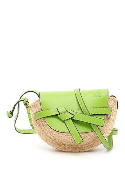 Loewe Mini Gate Bag in natural / green