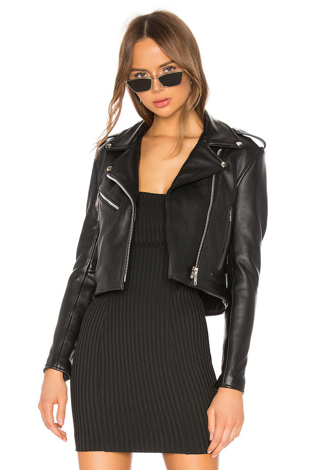 Understated Leather Mercy Cropped Jacket in black