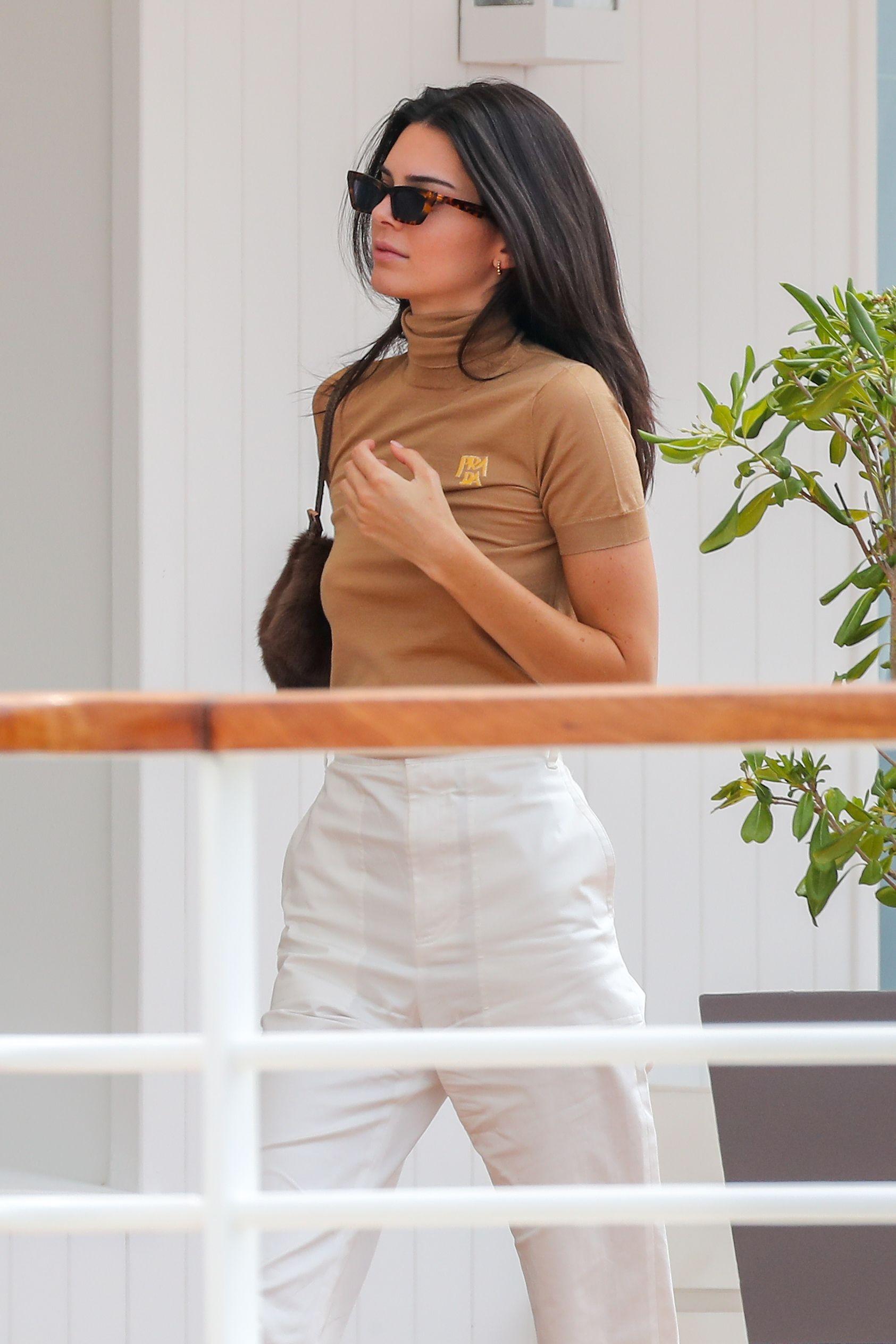 top camel kardashians kendall jenner model off-duty spring outfits turtleneck