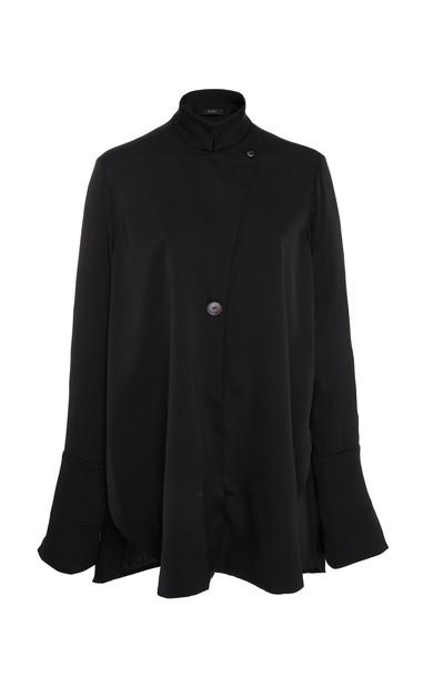 Ellery Mona Fluid Asymmetric Silk-Blend Blouse Size: 14 in black
