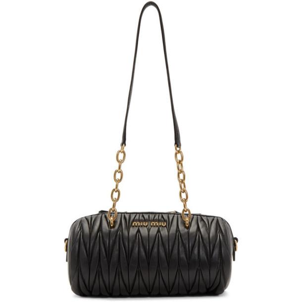 Miu Miu Black Matelasse Cylinder Bag