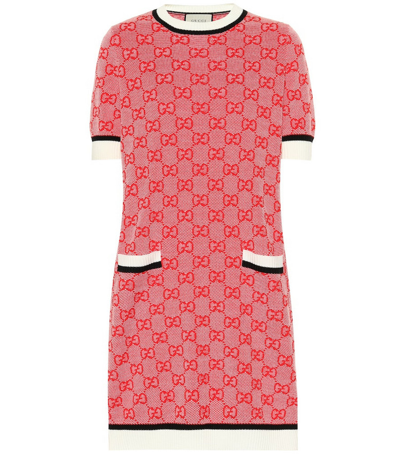 Gucci GG wool and cotton knit dress in red