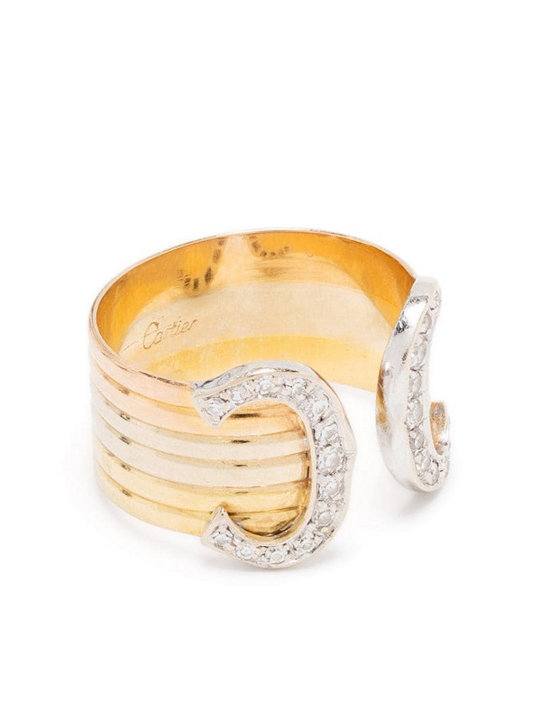 Cartier 18kt gold diamond double C ring