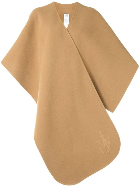 JW Anderson embroidered logo oversized scarf in brown