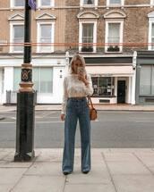 jeans,wide-leg pants,white blouse,cropped,lace top,mustard,shoulder bag