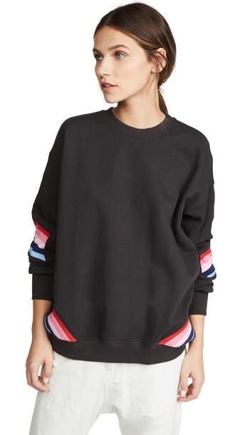 Spiritual Gangster Stripe Crew Neck Sweatshirt in black