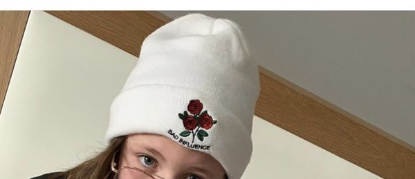 hat white roses bad influence beanie
