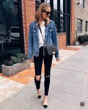 jacket,denim jacket,oversized jacket,black skinny jeans,ripped,cropped jeans,slingbacks,black bag,white t-shirt,black sunglasses