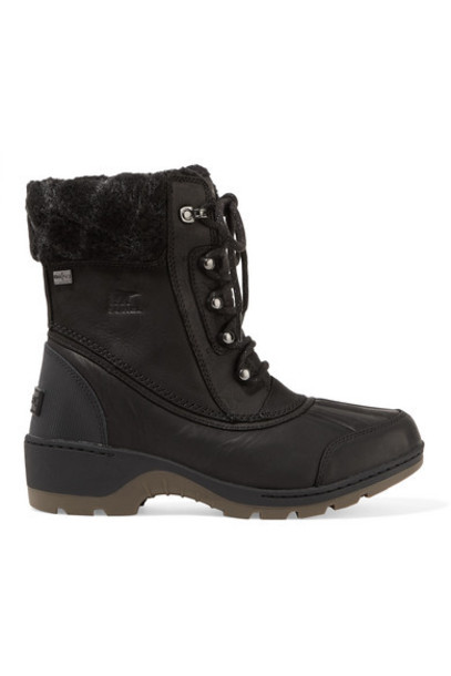 Sorel - Whistler Wool-trimmed Waterproof Leather Ankle Boots - Black