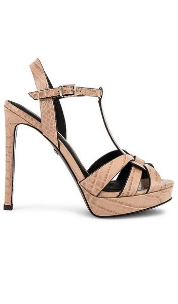 Lola Cruz Mavra Croco High Heel Sandal in Nude in taupe