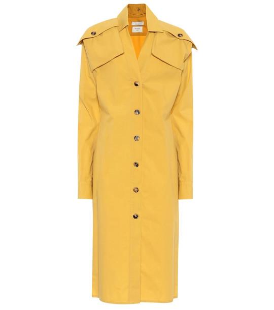 Bottega Veneta Cotton-poplin shirt dress in yellow