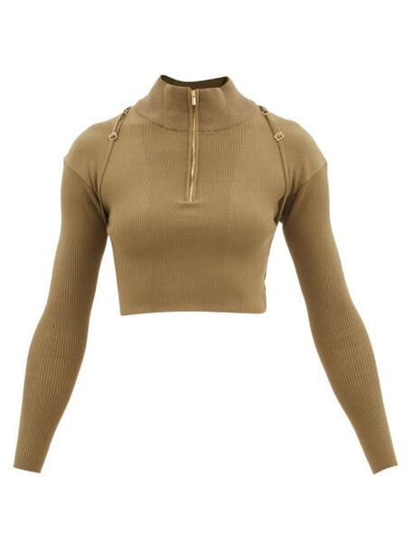 Jacquemus - Bormio High-neck Ribbed Top - Womens - Khaki