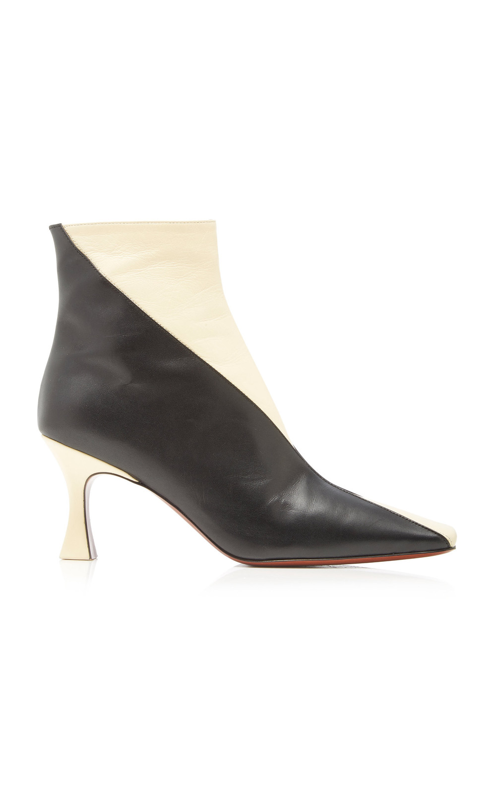 Manu Atelier Duck Two-Tone Leather Ankle Boots Size: 38 in black