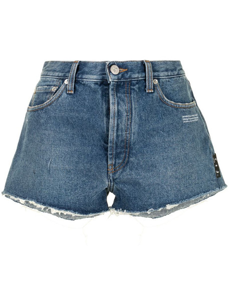 Off-White distressed denim shorts in blue