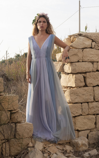 Luisa Beccaria Gathered Chiffon Gown in multi