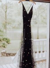 dress,black dress,long dress,starry,black,gala