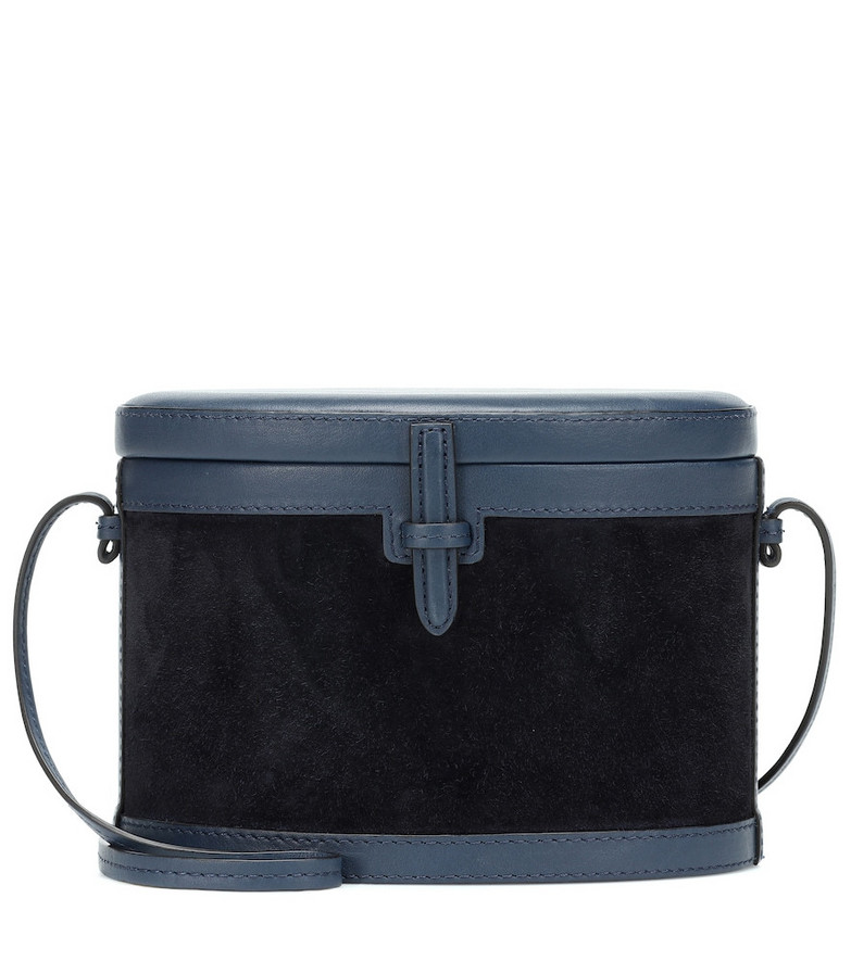 Hunting Season The Round Trunk suede shoulder bag in blue