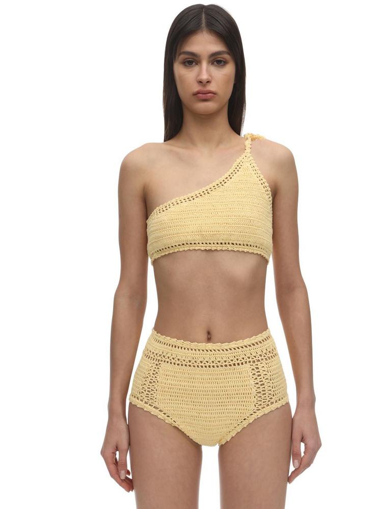 SHE MADE ME One Shoulder Crochet Bikini Top in yellow