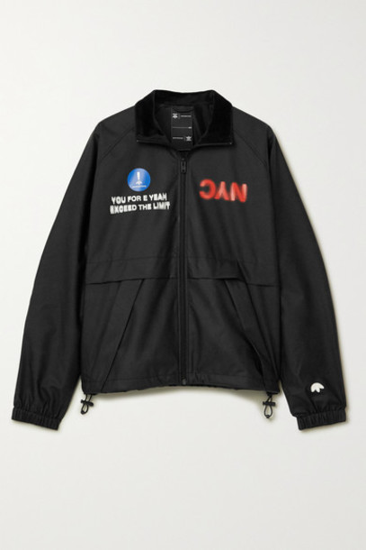 adidas Originals By Alexander Wang - Velour-trimmed Printed Shell Track Jacket - Black