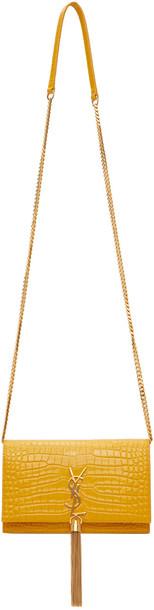 Saint Laurent Yellow Croc Kate Tassel Chain Wallet Bag