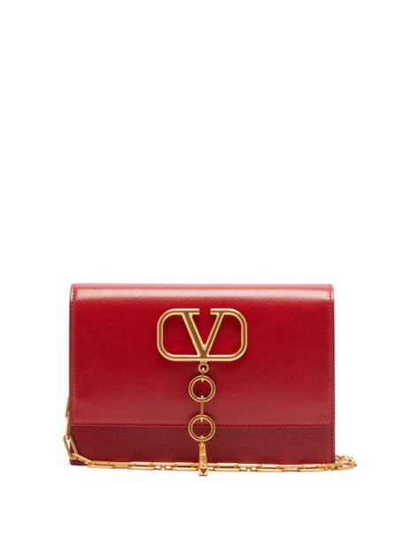 Valentino - V Case Leather Cross Body Bag - Womens - Red