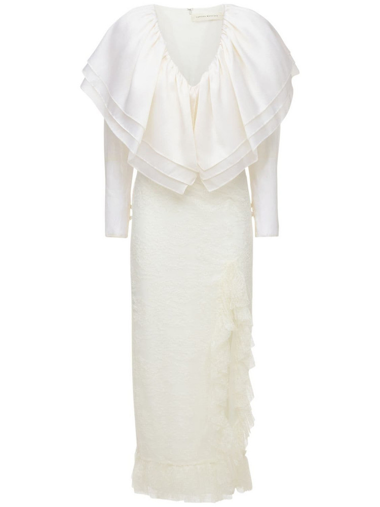 SANDRA MANSOUR Organza Ruffled Midi Dress in white