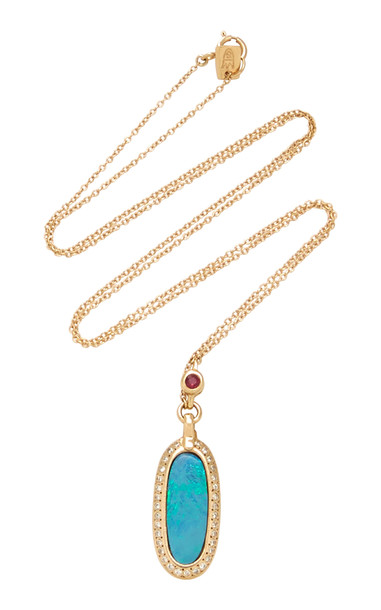 SCOSHA 14K Gold And Multi-Stone Necklace in blue
