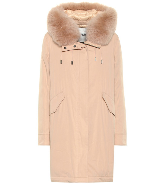 Yves Salomon - Army Fur-trimmed parka in pink