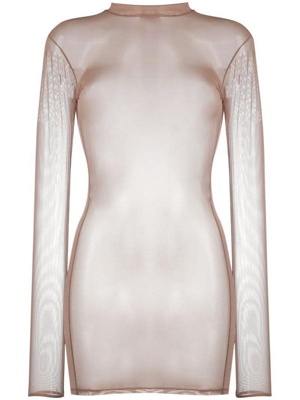 Maison Close sheer mesh mini dress in neutrals