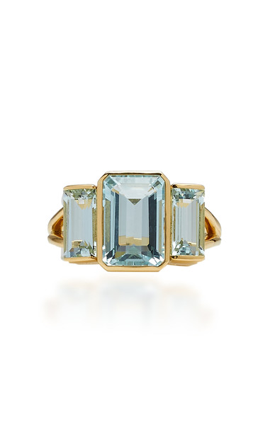 Yi Collection 18K Gold And Aquamarine Ring Size: 6 in blue