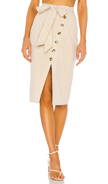 Privacy Please Watson Midi Skirt in Taupe,Metallic Gold