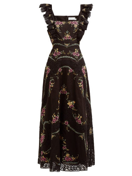 Zimmermann - Allia Floral Embroidered Ruffled Dress - Womens - Black