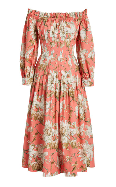 Oscar de la Renta Floral-Printed Dress in pink