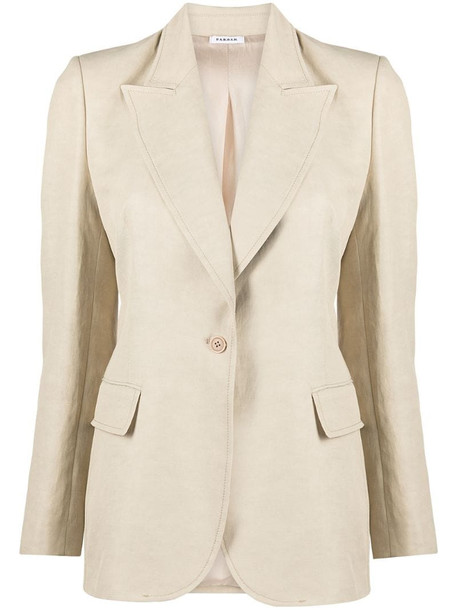 P.A.R.O.S.H. fitted button-front blazer in neutrals