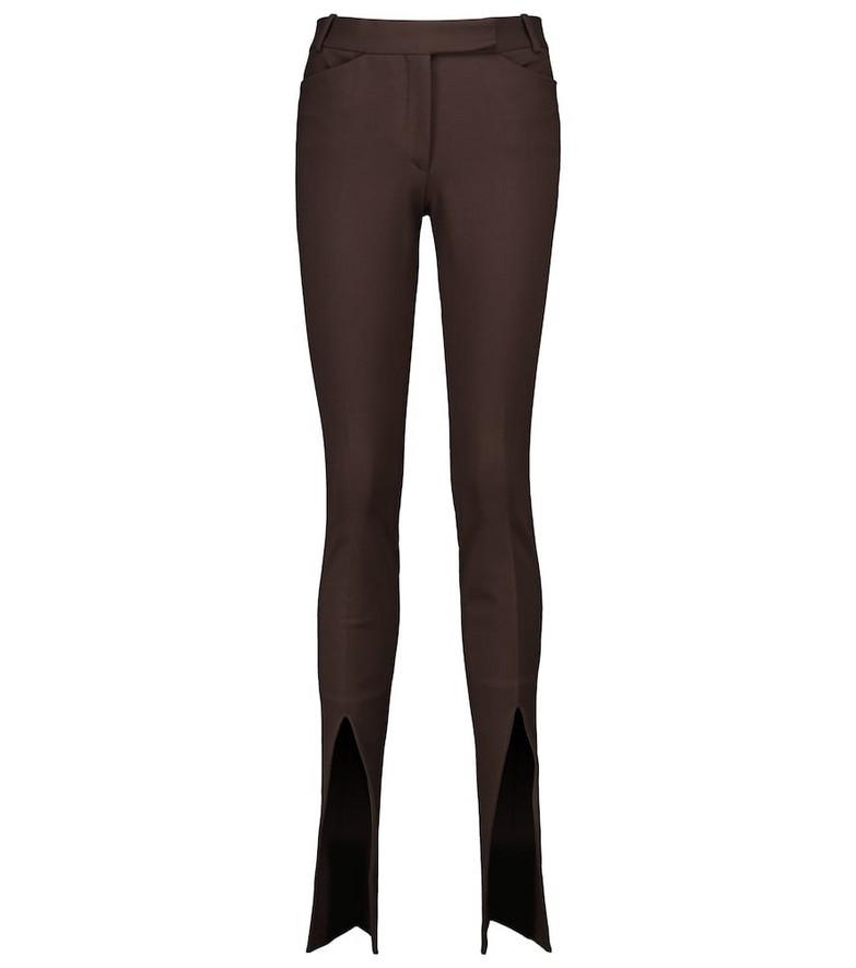The Attico High-rise split-hem pants in brown