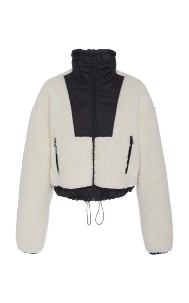 3.1 Phillip Lim Drawstring-Waist Blocked Shearling Bomber Jacket Size: in black