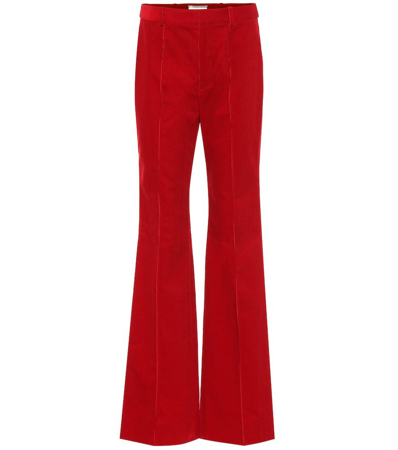 Saint Laurent High-rise corduroy flared pants in red