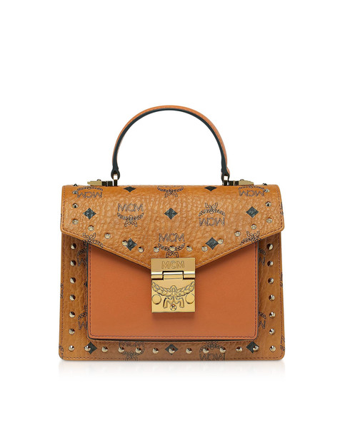 Mcm Patricia Studded Outline Visetos Small Satchel