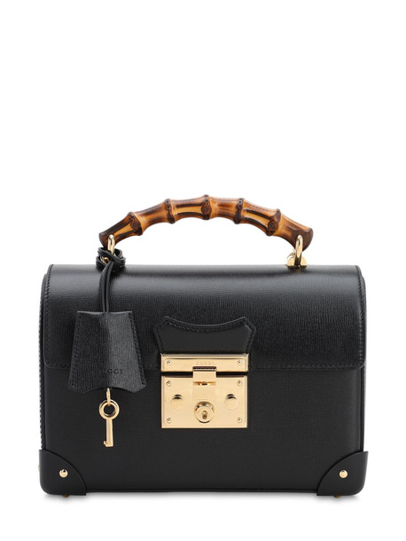GUCCI Padlock Leather Top Handle Bamboo Bag in black