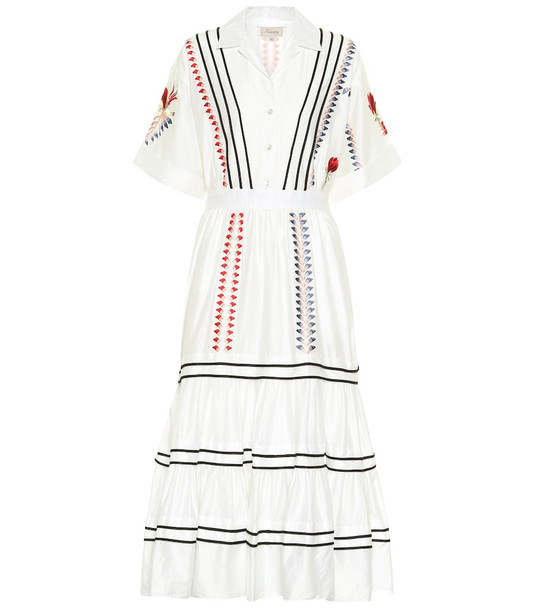 Temperley London Embroidered cotton dress in white