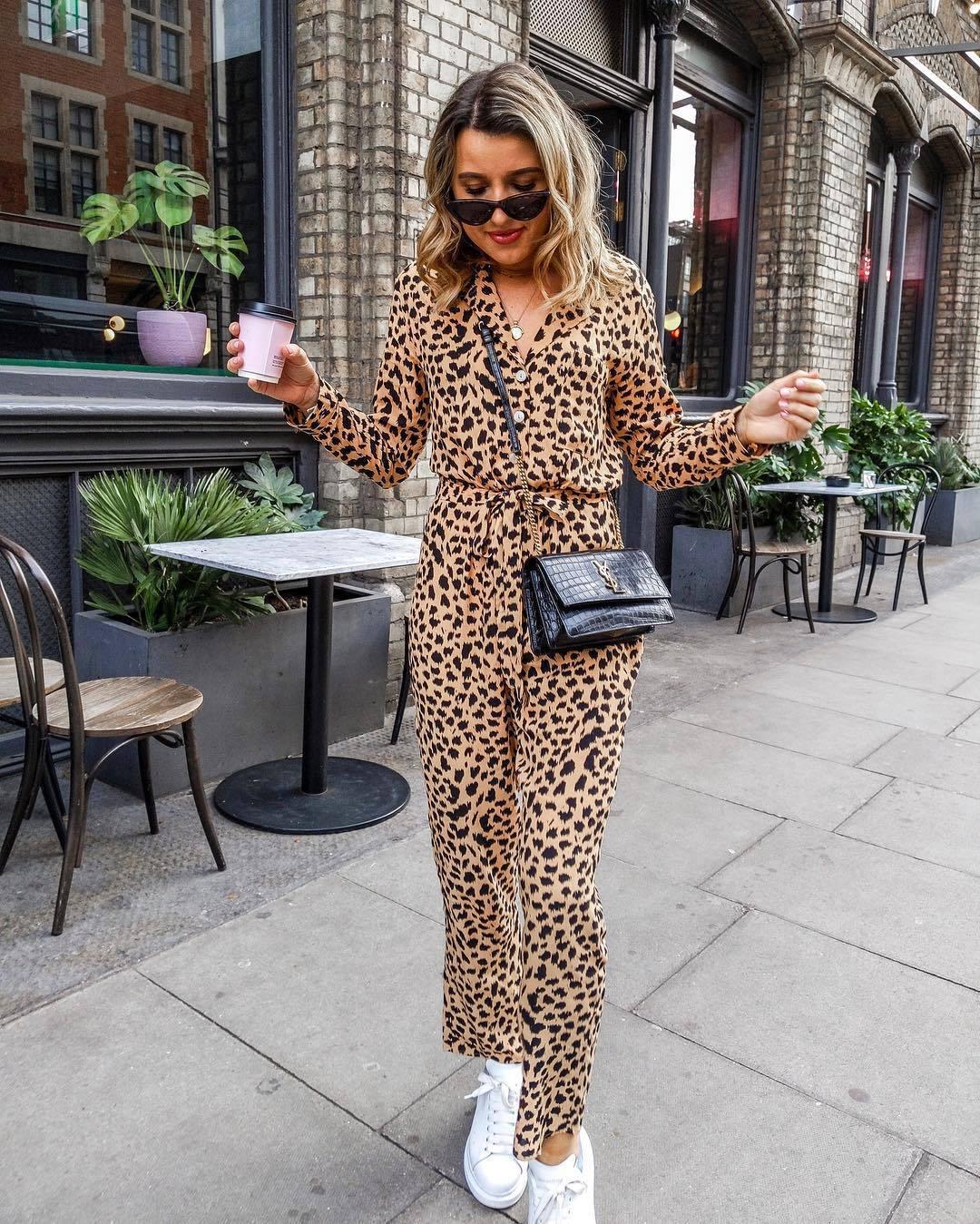 jumpsuit leopard print white sneakers black bag ysl bag black sunglasses