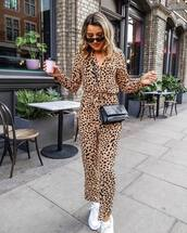 jumpsuit,leopard print,white sneakers,black bag,ysl bag,black sunglasses