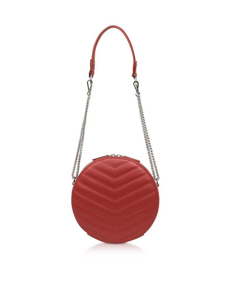 Lancaster Paris Parisienne Quilted Leather Round Crossbody Bag in red
