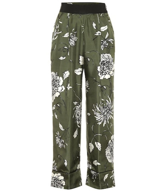 Moncler Floral silk wide-leg pants in green