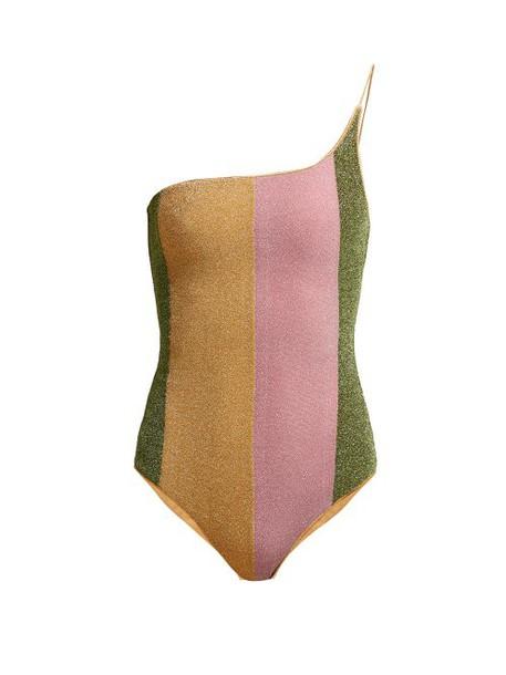 Oseree - Lumière Asymmetric Metallic Swimsuit - Womens - Pink Multi