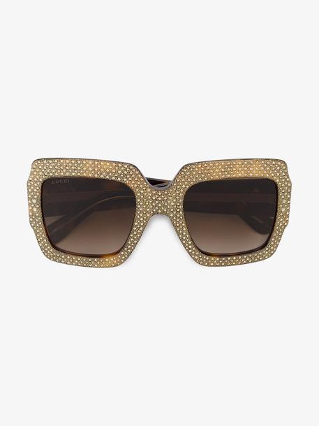 Gucci Eyewear rhinestone embellished sunglasses in brown