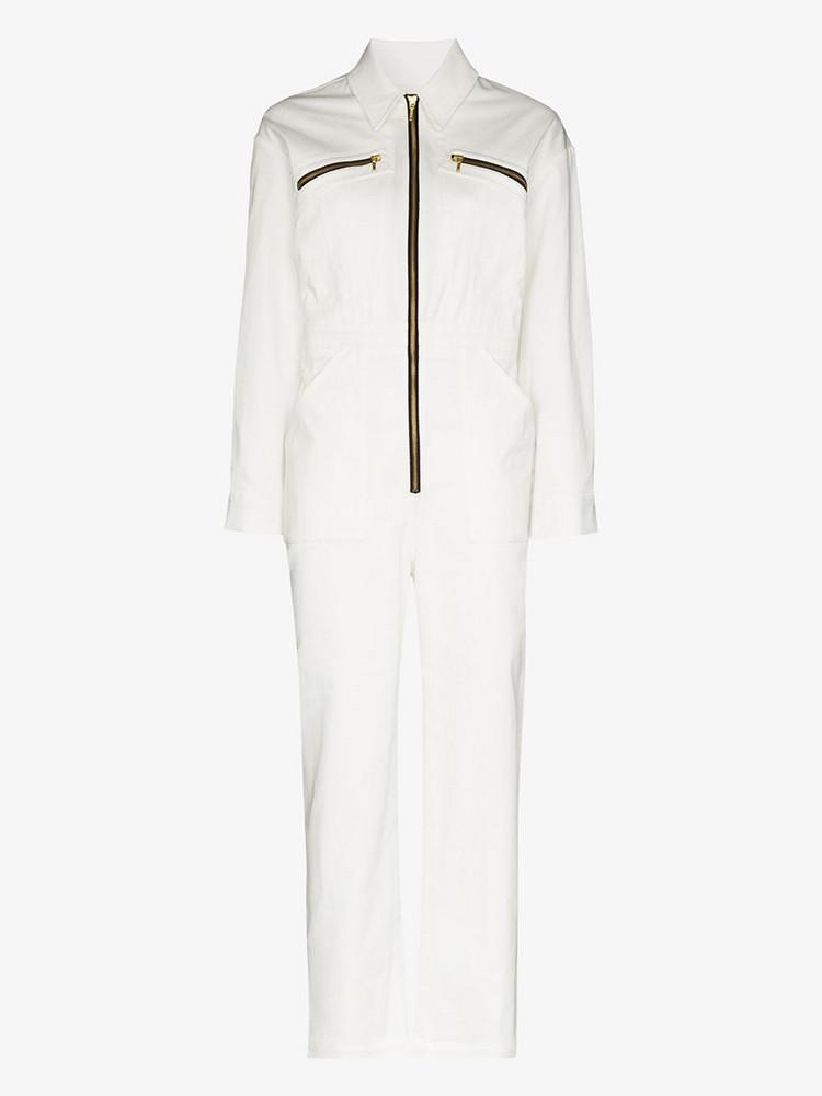 De La Vali Dakota zip-up jumpsuit in white