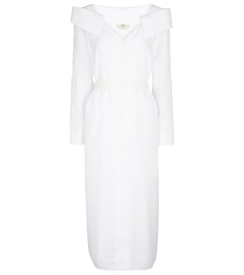 Fendi Off-shoulder linen shirt dress in white